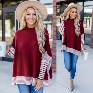 Everything You Need Red Striped Poncho